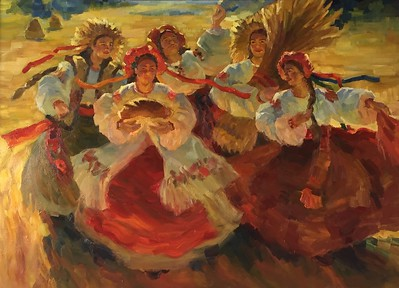 """Harvest Festival"" (oil on canvas) by Mariia Chernyshova"