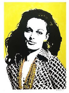 """Diane! Daisy Yellow"" (acrylic paint underlay/black screen print/ gold leaf) by Michi Broussard"