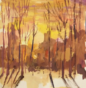 """Evening"" (gouache on paper) by Mariia Chernyshova"