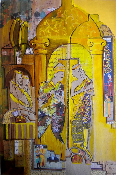 """Yellow Dome"" (collage, acrylic) by Hoda Mirmohammadi"