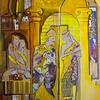 """Yellow Dome"" (collage, acrylic) by Hoda Mirmohammadi"