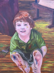 """""""Helping Daddy Paint"""" (oil) by Crista Bromley"""