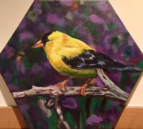 """""""Goldfinch"""" (acrylic) by Vasundhara Tolia"""