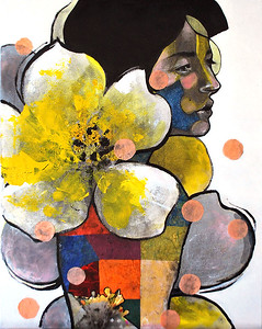 """""""Let It Blossom"""" (acrylic, pencil, collage) by QiuChen Fan"""