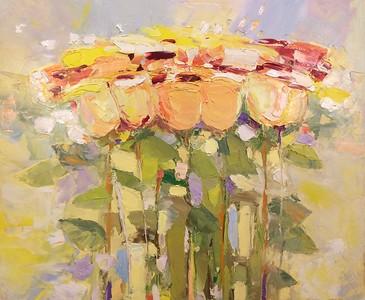 """Yellow Flowers"" (oil on canvas) by Nikolai Dolgikh"