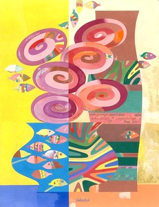 """""""Still life with small fish"""" (acrylic, gouache, watercolor, and tempera on paper) by Neli Lukashyk"""