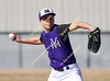 Yerington Baseball Tournament in Yerington, NV. Varsity baseball action; Yerington vs. Bishop, March 9, 2018. Yerington's Justin Olmstead pitches during Friday's game against Bishop Union. Yerington and Bishop Union played to a 5-5 tie.