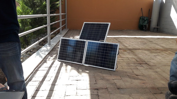 150 watts solar, about 8 amps