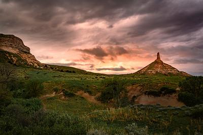 Chimney Rock at Sunset, in Western Nebraska