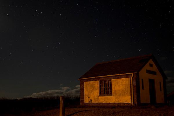 Moonlit house in Lild Strand, Denmark