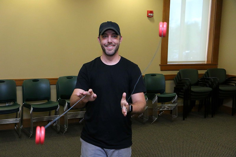 "Brett Outchcunis, better know as ""Ooch"", brought his Ooch World to the Leominster Public Library on Thursday afternoon. He entertained them with some yo-yo tricks and then some group dancing for everyone, even the parents. When he took some questions during the show they asked him if he could use two yo-yo's at the same time, so he did. SENTINEL & ENTERPRISE/JOHN LOVE"