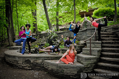 Jivamukti Yoga 2011 teacher trainees on the rocks at Omega Campus in Rhinebeck, NY.