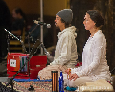 Sharon Gannon leads a meditation with Jules Febre