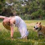 Michele Baker of Swan River Yoga with her sweet dog Lida