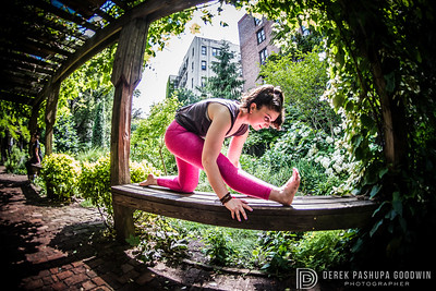 Julia Abramova in Lower East Side garden, NYC