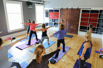Susan Rietano-Davey of Avon leads a class at Yoga Center of Collinsville.  Photo by John Fitts