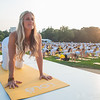A yogi demos at Lole yoga event in Central Park