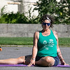 Fitchburg yoga instructor Cera Hawkins, pictured, holds a class at Riverfront Park in the city on Friday mornings at 9:30. SENTINEL & ENTERPRISE/JOHN LOVE