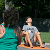 Fitchburg yoga instructor Cera Hawkins holds a class at Riverfront Park in the city on Friday mornings at 9:30. Participating in her class is Alex L'Bassi from Sterling. SENTINEL & ENTERPRISE/JOHN LOVE