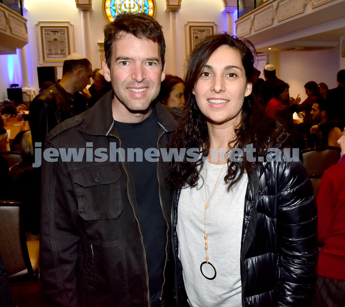 Yochai Cohen concert at the Sephardi Synagogue. John Salamon (left), Ilana Ginges. Pic Noel Kessel