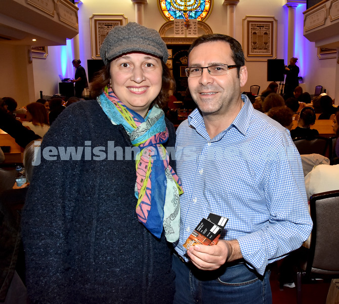 Yochai Cohen concert at the Sephardi Synagogue. Sigal and Rabbi Shlomo Di Veroli. Pic Noel Kessel