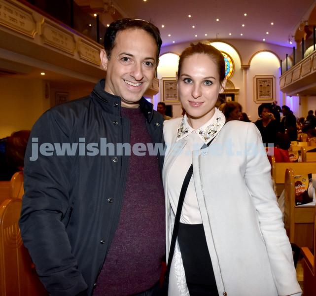 Yochai Cohen concert at the Sephardi Synagogue. Yaniv Einati (left), Maria Kostriko. Pic Noel Kessel