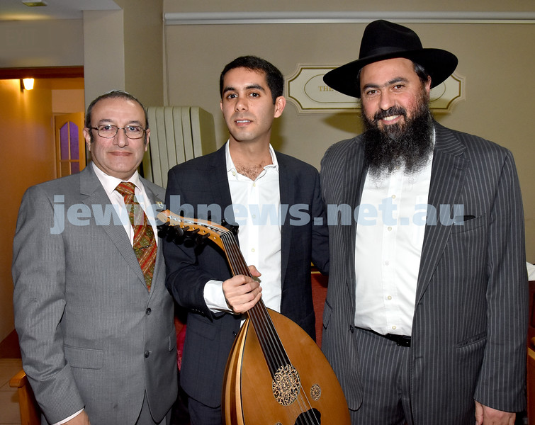 Yochai Cohen concert at the Sephardi Synagogue. From left: Shaul Ezekiel, Yochai Cohen, Rabbi Michael Chriqui. Pic Noel Kessel