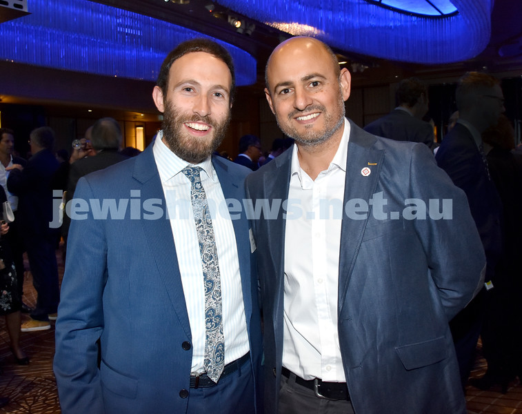 Yom Haatzmaut Communal Cocktail Party at the Shangri-La Hotel. Rabbi Yossi Friedman (left), Doron Lazarus. Pic Noel Kessel