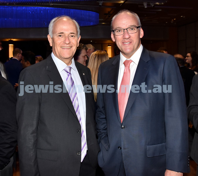 Yom Haatzmaut Communal Cocktail Party at the Shangri-La Hotel. Peter Wertheim (left), NSW Opposition leader Luke Foley. Pic Noel Kessel