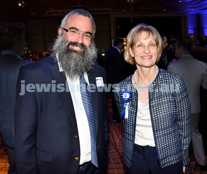 Yom Haatzmaut Communal Cocktail Party at the Shangri-La Hotel. Rabbi Dovid Slavin (left), Jillian Segal. Pic Noel Kessel