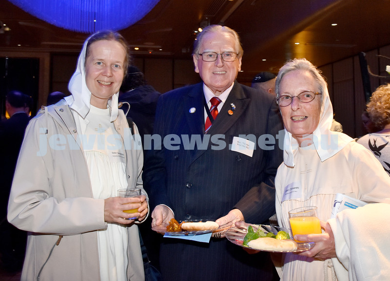 Yom Haatzmaut Communal Cocktail Party at the Shangri-La Hotel. From left: Sister Seraphina, Rev Fred Nile MP, Sister Chrysanthi. Pic Noel Kessel