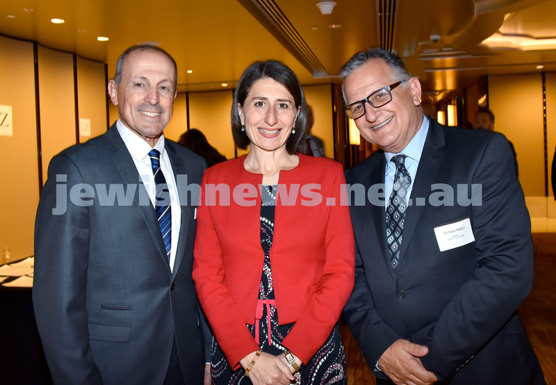 Yom Haatzmaut Communal Cocktail Party at the Shangri-La Hotel. From left: Vic Alhadeff, NSW Premier Gladys Berejiklian, Richard Balkin. Pic Noel Kessel