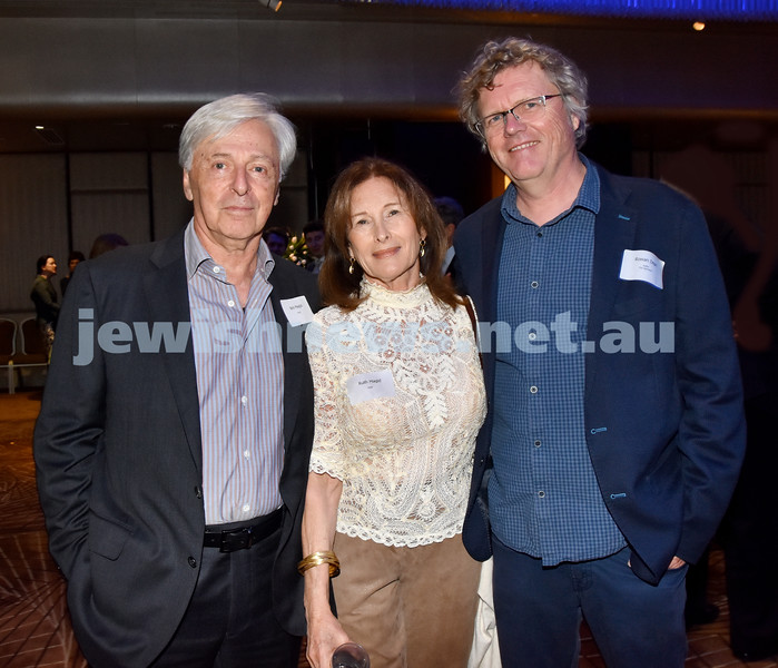 Yom Haatzmaut Communal Cocktail Party at the Shangri-La Hotel. From left: Robert and Ruth Magid, Rowan Dean. Pic Noel Kessel
