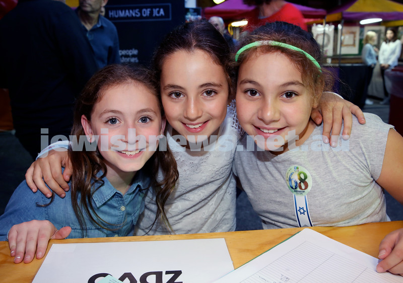 Yom Haatzmaut fair at Moriah College. (from left) Libby Grauman, Amber Moses, Samara Amoils. Pic Noel Kessel.
