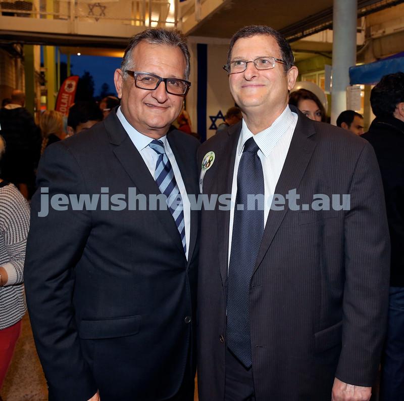 Yom Haatzmaut fair at Moriah College. Richard Balkin & Israeli Ambassador Shmuel Ben Shmuel. Pic Noel Kessel.