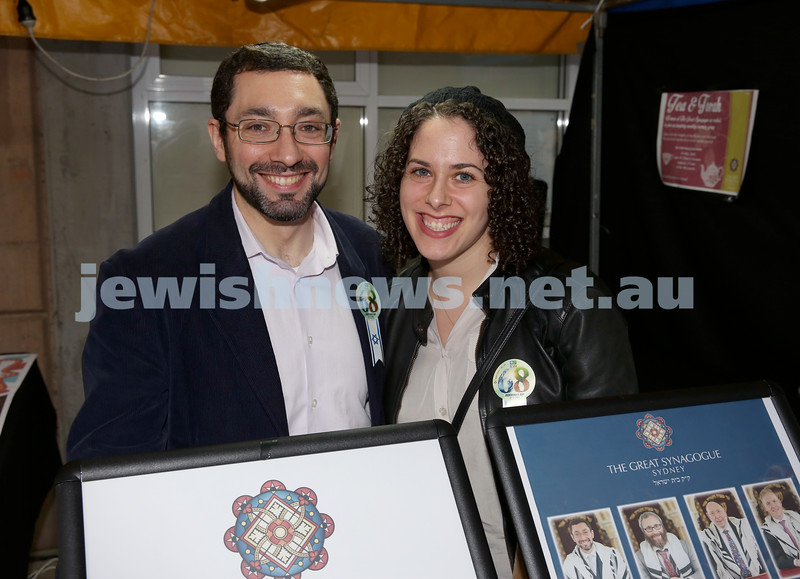 Yom Haatzmaut Fair at Moriah College. Rabbi Ben Elton and his wife. Pic Noel Kessel.