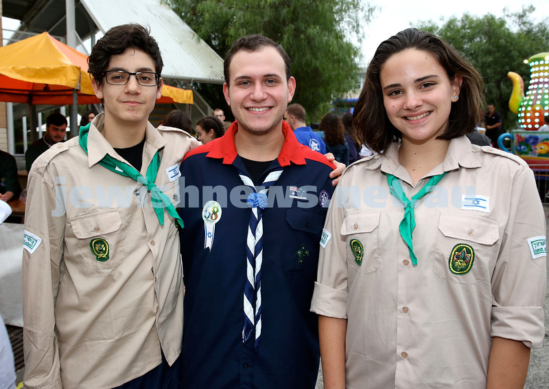 Yom Haatzmaut fair at Moriah College. (from left) Aran Pando, David Politzer, Ofri Einav. Pic Noel Kessel.