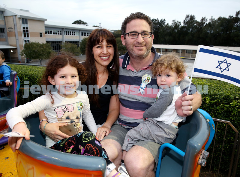 Yom Haatzmaut fair at Moriah College. (from left) Zoe, Lisa, jonathan, Jamie Levy. Pic Noel Kessel.
