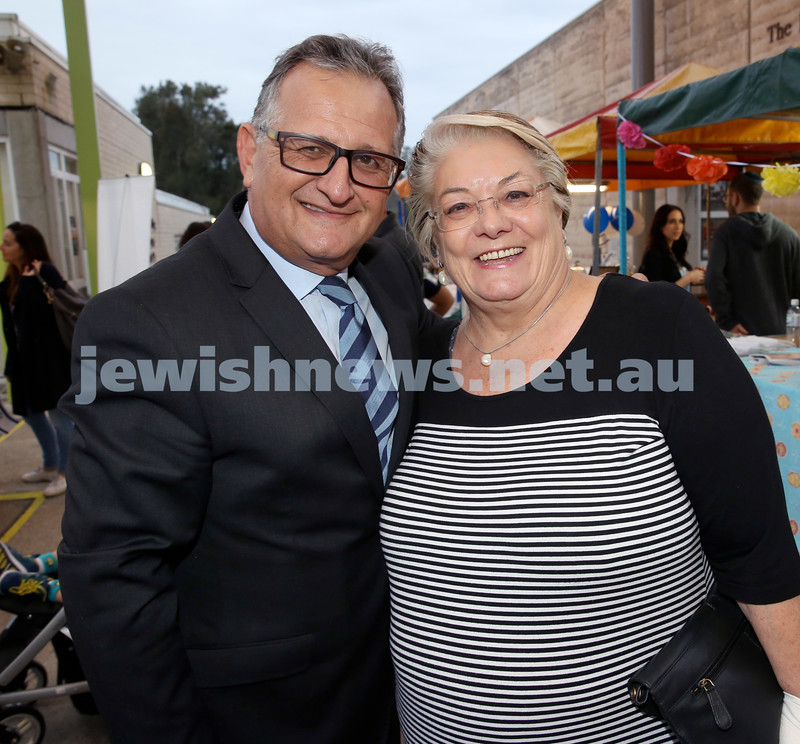 Yom Haatzmaut Fair at Moriah College. Richard Balkin & Waverley Mayor Sally Betts. Pic Noel Kessel.