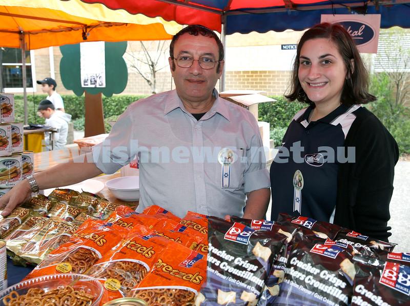 Yom Haatzmaut fair at Moriah College. Shaul Ezekiel & Belinda Kass. Pic Noel Kessel.