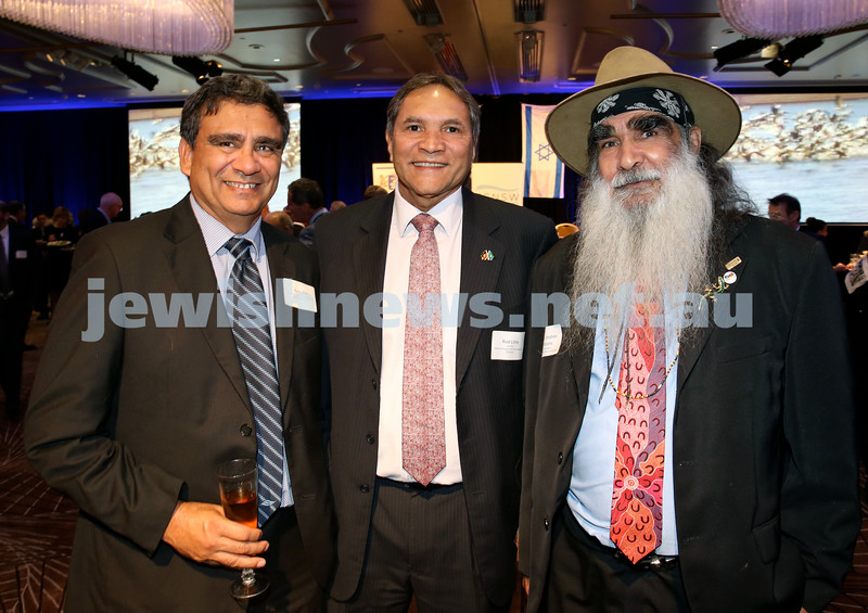 Yom Haatzmaut Communal Cocktail Party at The Shangri la Hotel in Sydney. (from left) Gary Ella, Rod Little Uncle Stephen Williams. Pic Noel Kessel.