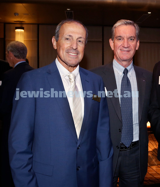 Yom Haatzmaut Communal Cocktail Party at The Shangri la Hotel in Sydney. Vic Alhadeff (left) & NSW Police Commissioner Andrew Scipione. Pic Noel Kessel.