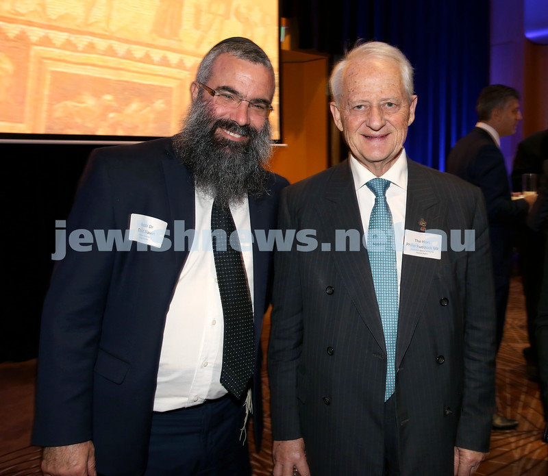 Yom Haatzmaut Communal Cocktail Party at The Shangri la Hotel in Sydney. Rabbi Dovid Slavin (Left) & Philip Ruddock. Pic Noel Kessel.