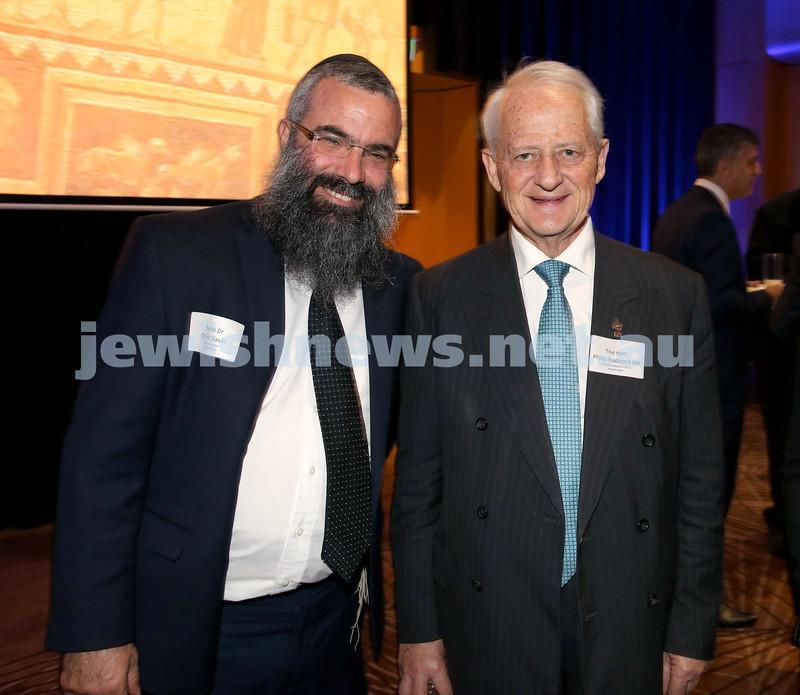 Yom Haatzmaut Communal Cocktail Party at The Shangri la Hotel in Sydney. Rabbi Dovid Slavin (Left) & Philip Ruddock. Pic Noel Kessel.
