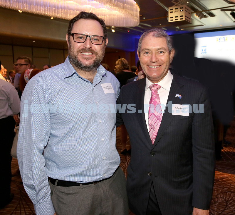 Yom Haatzmaut Communal Cocktail Party at The Shangri la Hotel in Sydney. Gareth Narunsky (left) & Roland Nagel. Pic Noel Kessel.