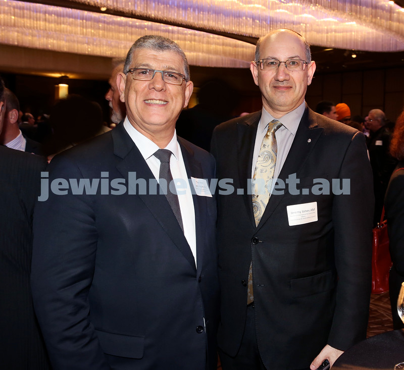 Yom Haatzmaut Communal Cocktail Party at The Shangri la Hotel in Sydney. John Ajaka (left) & Jeremy Jones. Pic Noel Kessel.