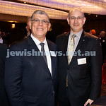 Yom Haatzmaut Communal Cocktail Party at The Shangri la Hotel in Sydney. John Ajaka (left) & Jeremy Jones. Pic Noel Kessel.
