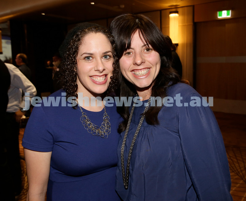 Yom Haatzmaut Communal Cocktail Party at The Shangri la Hotel in Sydney. Hinda Young (left) & Cassie Nathan. Pic Noel Kessel.