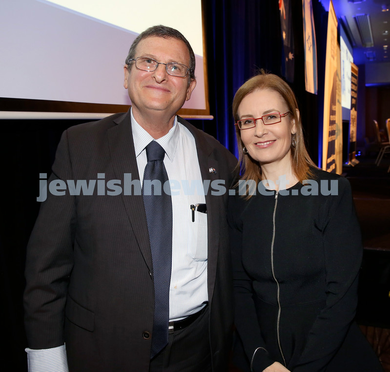 Yom Haatzmaut Communal Cocktail Party at The Shangri la Hotel in Sydney. Shmuel Ben Shmuel & Gabrielle Upton. Pic Noel Kessel.