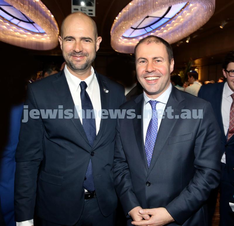 Yom Haatzmaut Communal Cocktail Party at The Shangri la Hotel in Sydney. Israeli MK Amir Ohana (left) & Josh Frydenberg. Pic Noel Kessel.